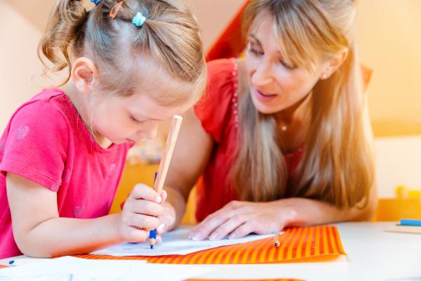 children and play school teacher drawing