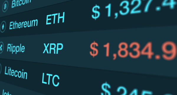 concept of cryptocurrency and stock market