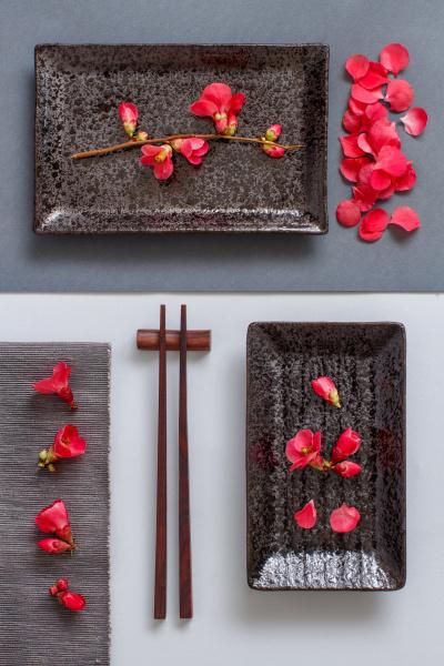 chopsticks rectangular plate and pink
