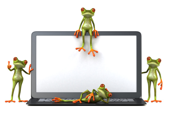 3d illustration of green frogs next