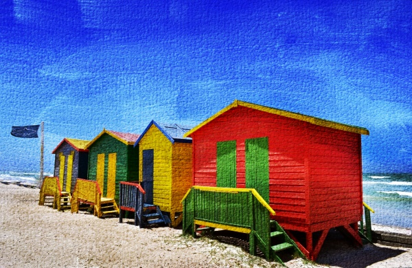 landscape with colorful wooden changing huts