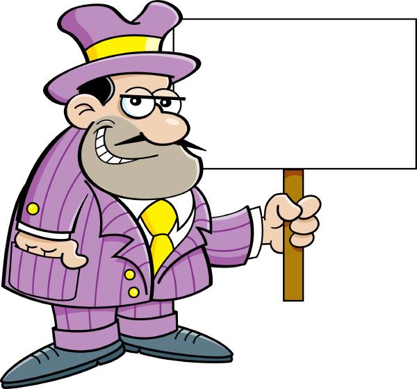 cartoon illustration of a criminal holding