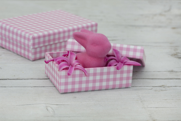 pink gift boxes and felt easter