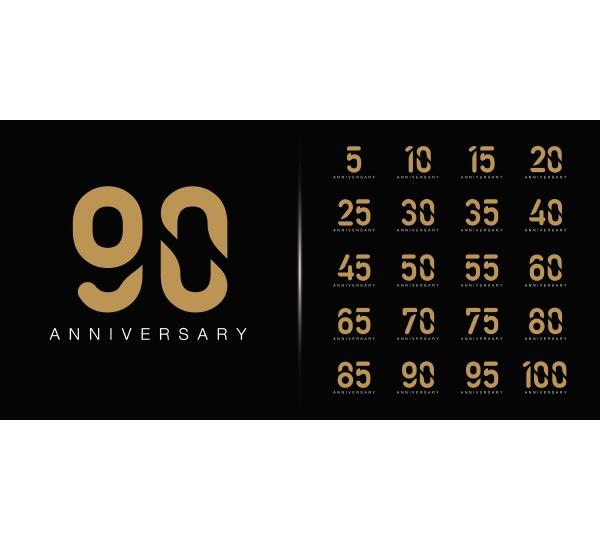 set of premium anniversary logotype golden