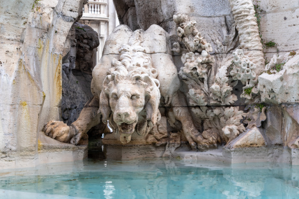 detail of lion statue at famous