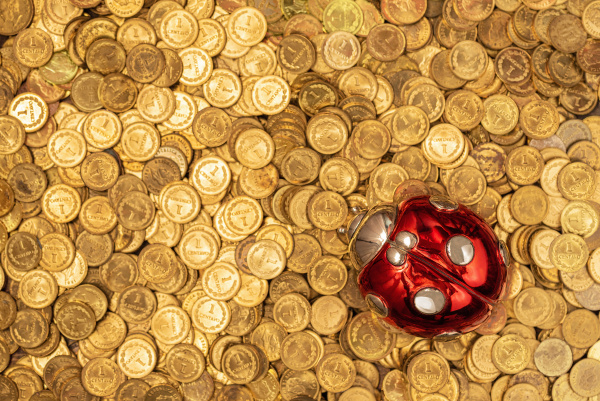 bed of golden coins with lucky