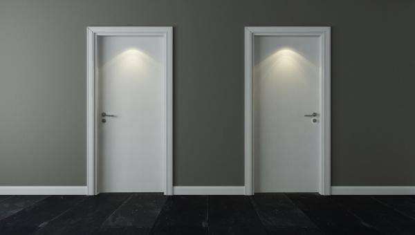 two door under spot light with