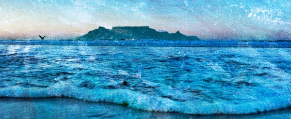 seascape with atlantic waves and table