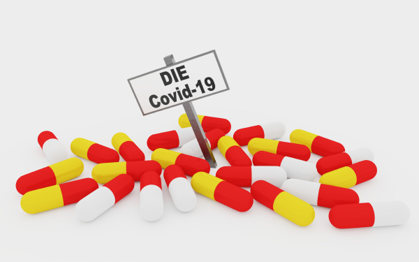 covid 19 pills concept with pills