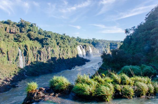 the iguazu river bordering brazil and
