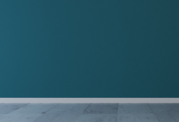 blue wall with white stone floor