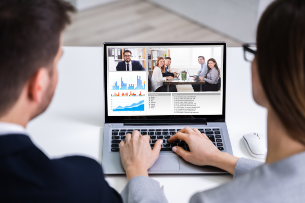businesspeople, video, conferencing, with, colleagues - 28237993