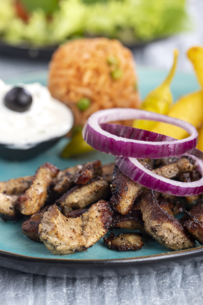 greek, gyros, on, a, plate, with - 28237969