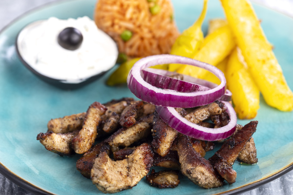 greek, gyros, on, a, plate, with - 28237970