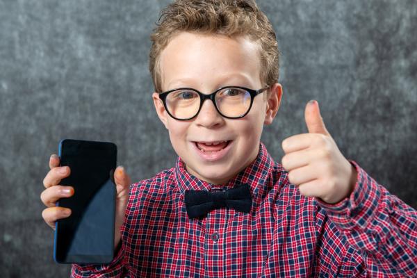 little, boy, showing, smartphone, black, blank - 28237810