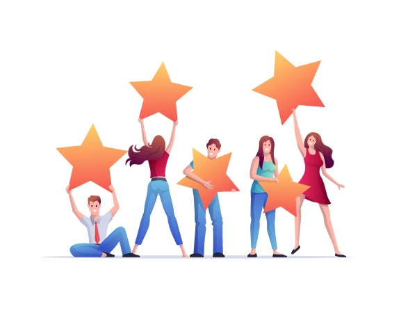 people holding rating stars