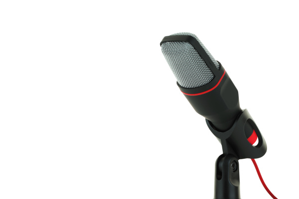 black, and, red, microphone, isolated, on - 28238663