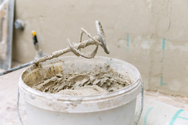bucket, with, fresh, plaster, mix, for - 28238741