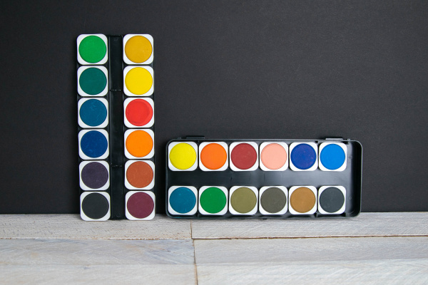 colorful, paints, stand, on, a, wooden - 28238388