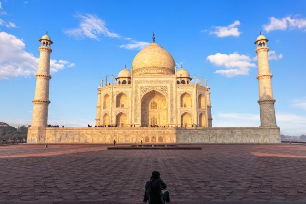 famous, taj, mahal, and, a, tourist - 28238667