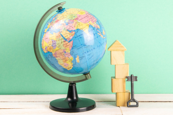 globe, and, wooden, cubes, lined, in - 28238401