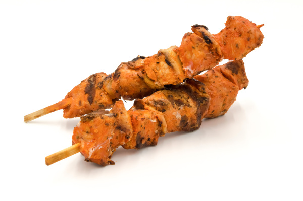 grilled, pork, skewers, isolated, on, white - 28238671