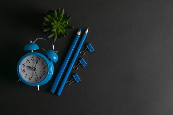 blue, alarm, clock, , green, plant - 28239313