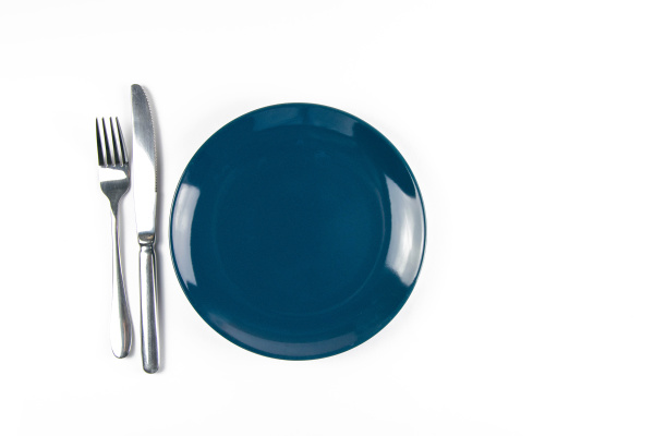 blue, empty, plate, with, fork, and - 28239915