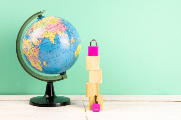 globe, and, wooden, cubes, lined, in - 28239693