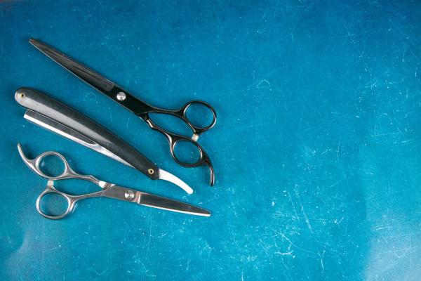 scissors, on, blue, background, , barber - 28239365