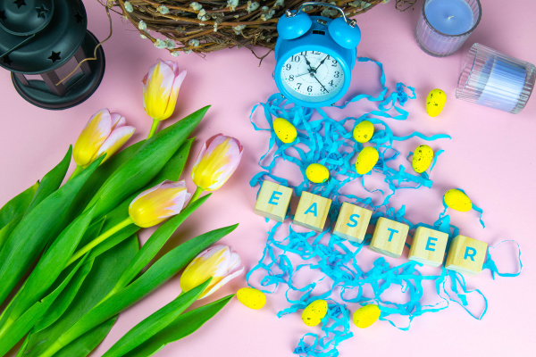 word, easter, on, wooden, cubes, and - 28239514