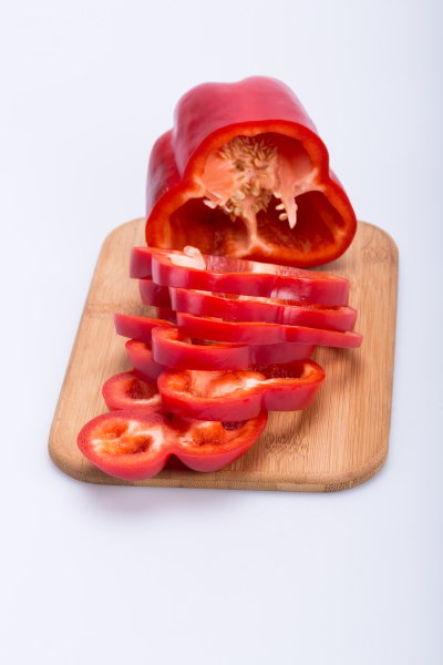sliced, red, pepper, isolated, on, white - 28240410