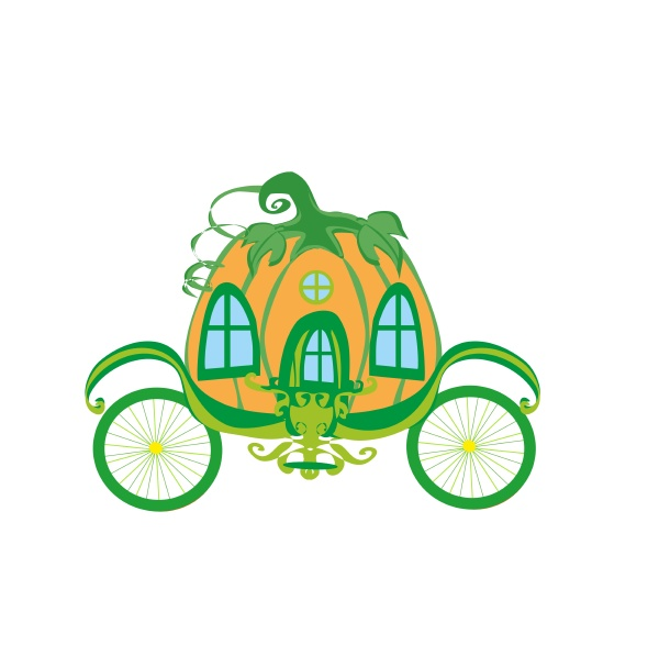 fairy tale pumpkin carriage iisolated