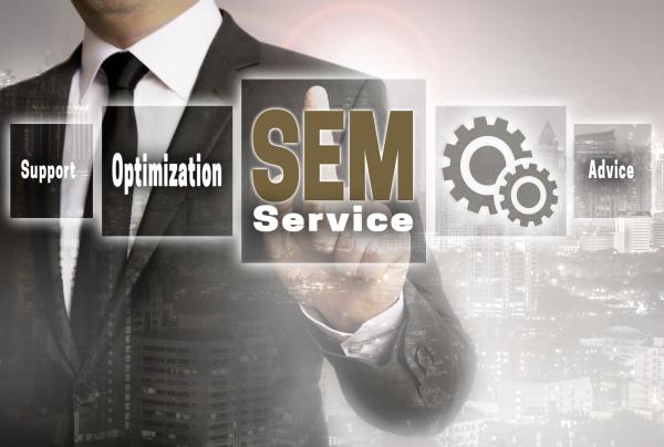 sem service businessman with city background
