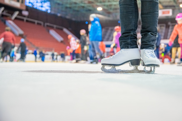 publicly skating at the hockey stadium