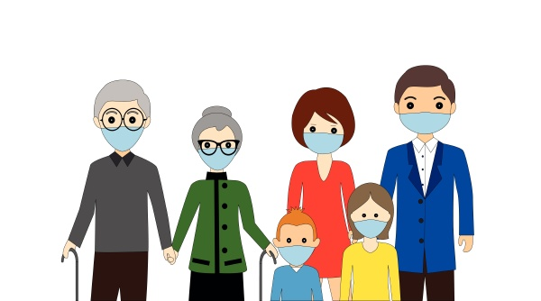 family wearing protective medical mask for