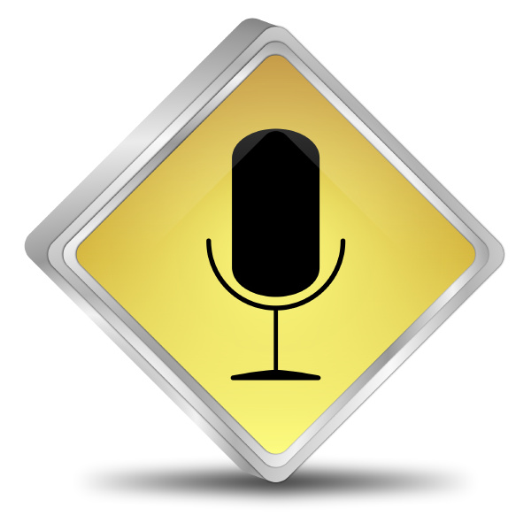golden button with microphone
