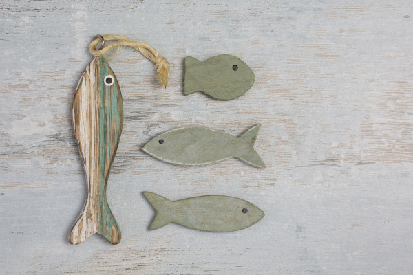 fish on distressed wood background