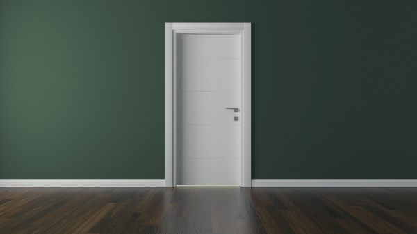 lacquer door with green wall