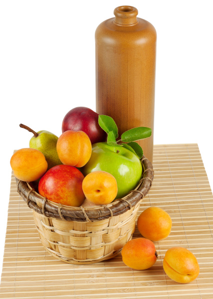still life with fruit and a