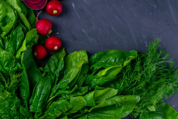 fresh vegetables and greens radish spinach