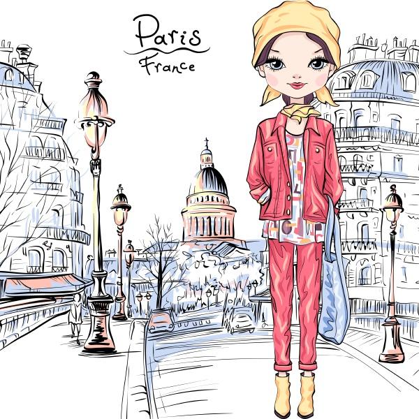 vector baby girl in paris
