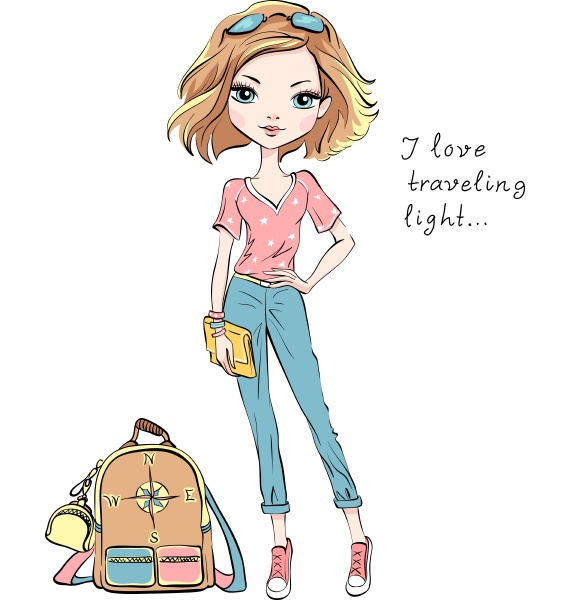 vector beautiful fashion girl travels the