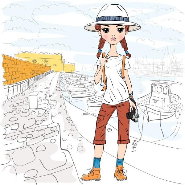 vector girl traveler with photo camera