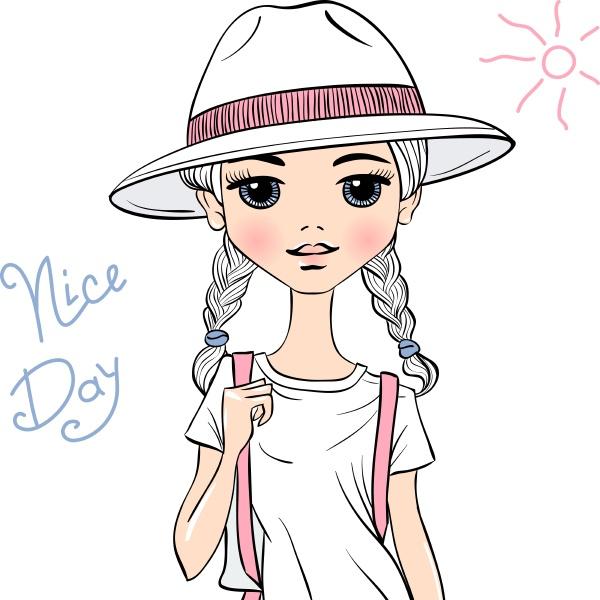vector girl traveler in white hat