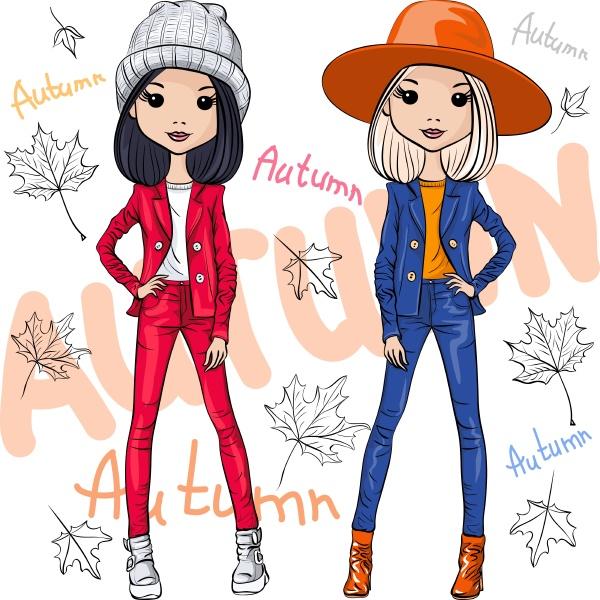 vector beautiful fashion girls
