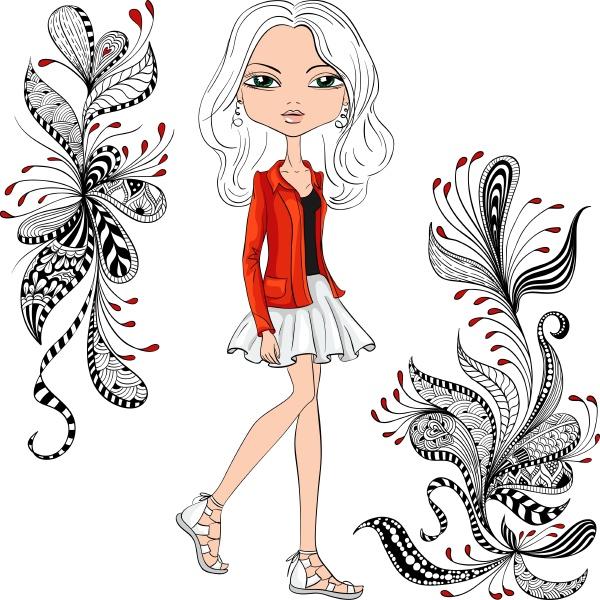 vector fashion hipster girl
