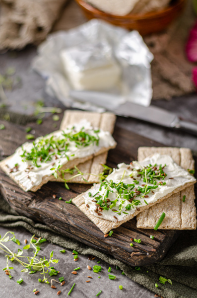 delicious fresh cheese with herbs on