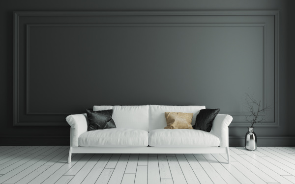 sofa on white wooden floor and