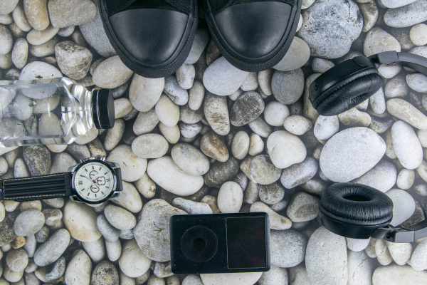 sneakers, , headphones, , ipod, and, clock, on - 28304617